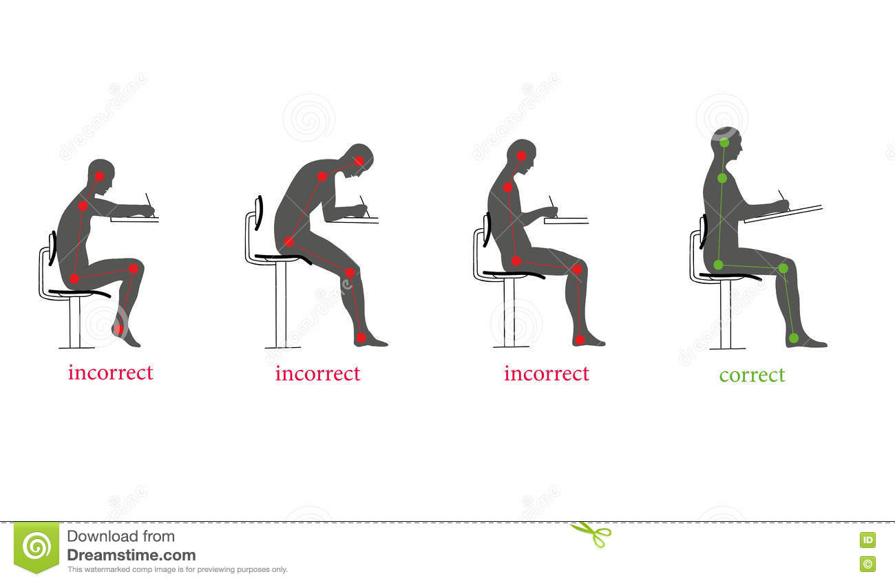 proper chair posture at computer saarinen executive side wood legs correct and incorrect when writing vector