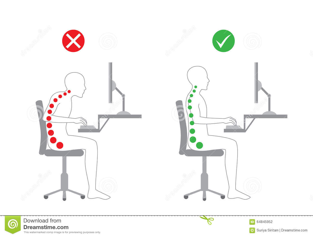 posture alignment chair covers and bows bridgend correct in sitting working stock vector illustration of body with computer