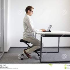 Proper Chair Posture At Computer Covers Hamilton Ontario Correct Sitting Position On Kneeling Stock Photo - Image: 32789476