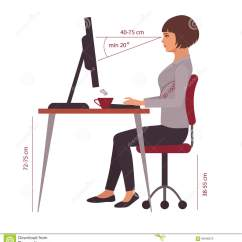 Proper Chair Posture At Computer Pink High Chairs Correct Sitting Position Office Desk Stock Vector
