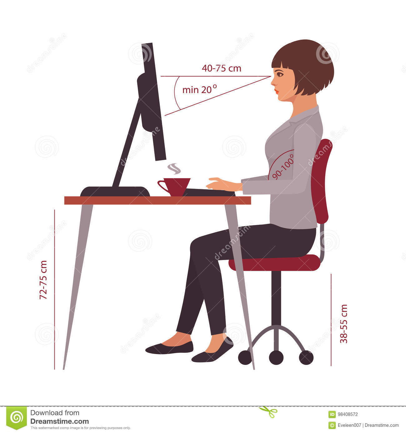 sitting posture on chair in office chairs for the elderly correct position desk stock vector