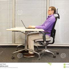 Sitting Posture On Chair In Office And Half With Ottoman Correct Position At Workstation Man