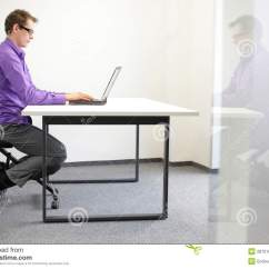 Proper Chair Posture At Computer In A Correct Sitting Position Workstation Royalty Free Stock