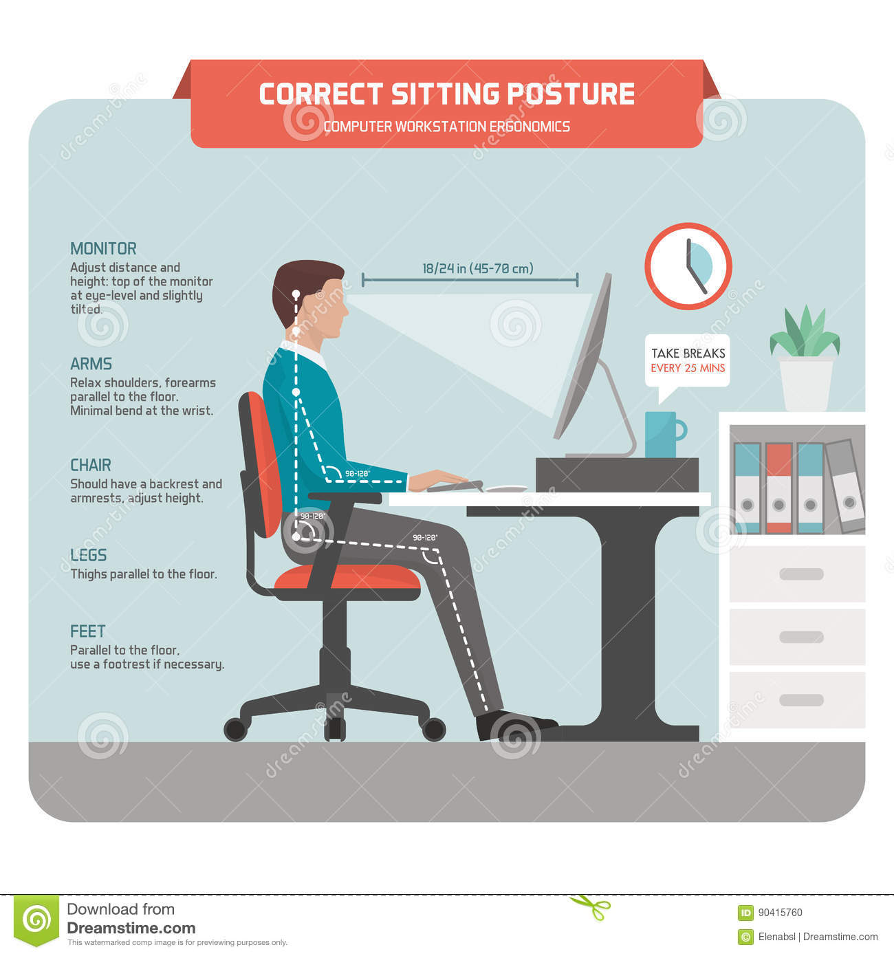posture care chair company prices fisher price high recall correct sitting at desk stock vector