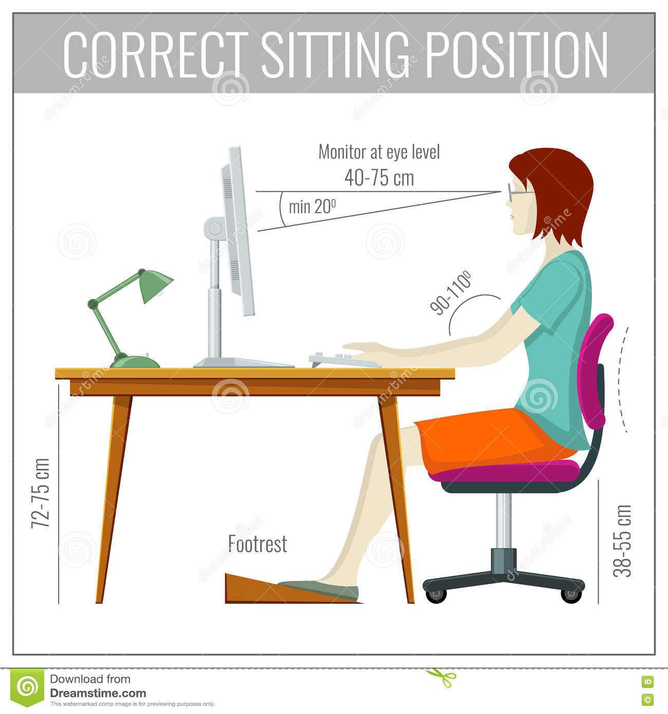 proper chair posture at computer stool cheap correct spine sitting health prevention vector concept stock - image ...