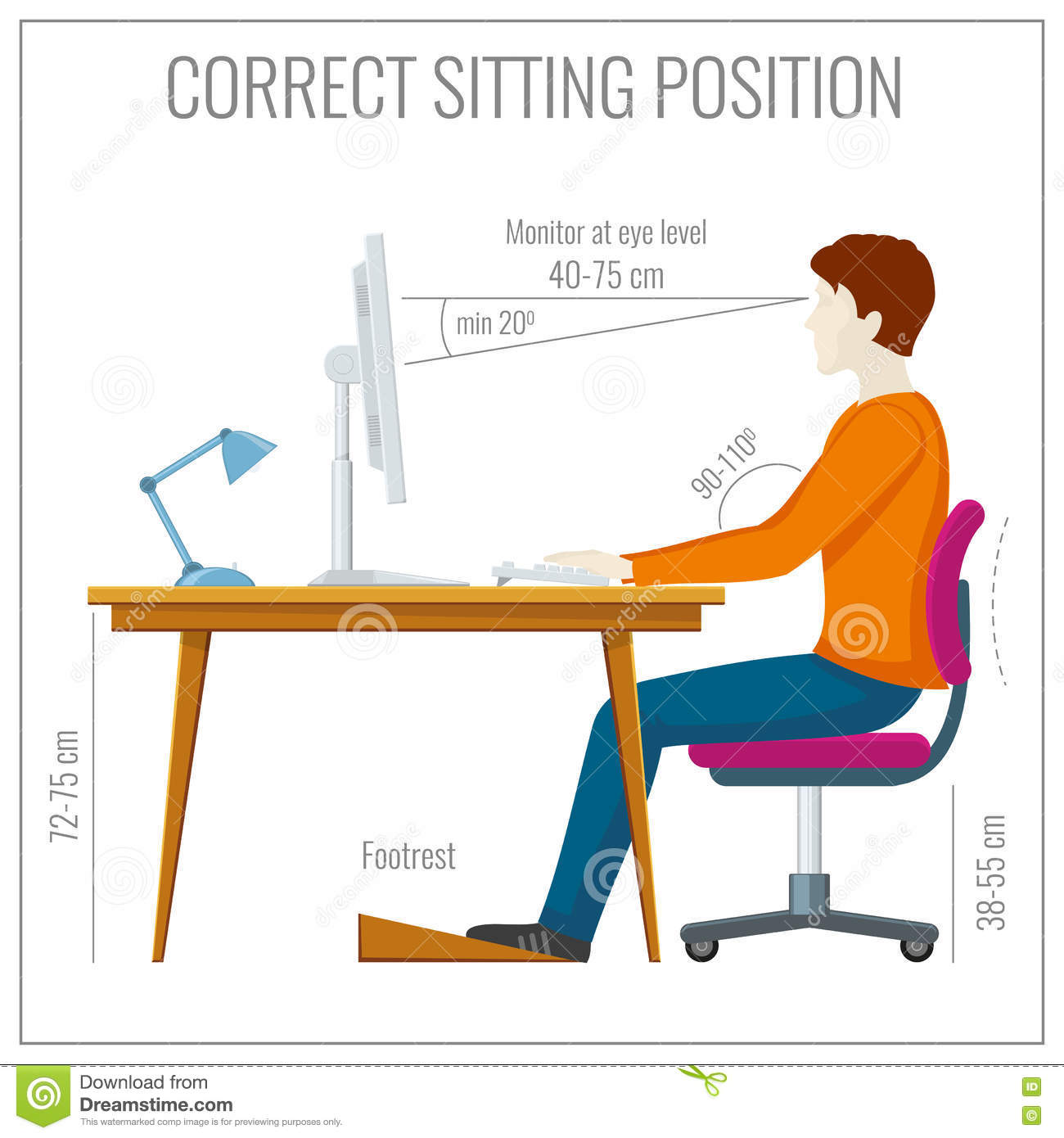 proper chair posture at computer plastic patio chairs walmart correct spine sitting vector