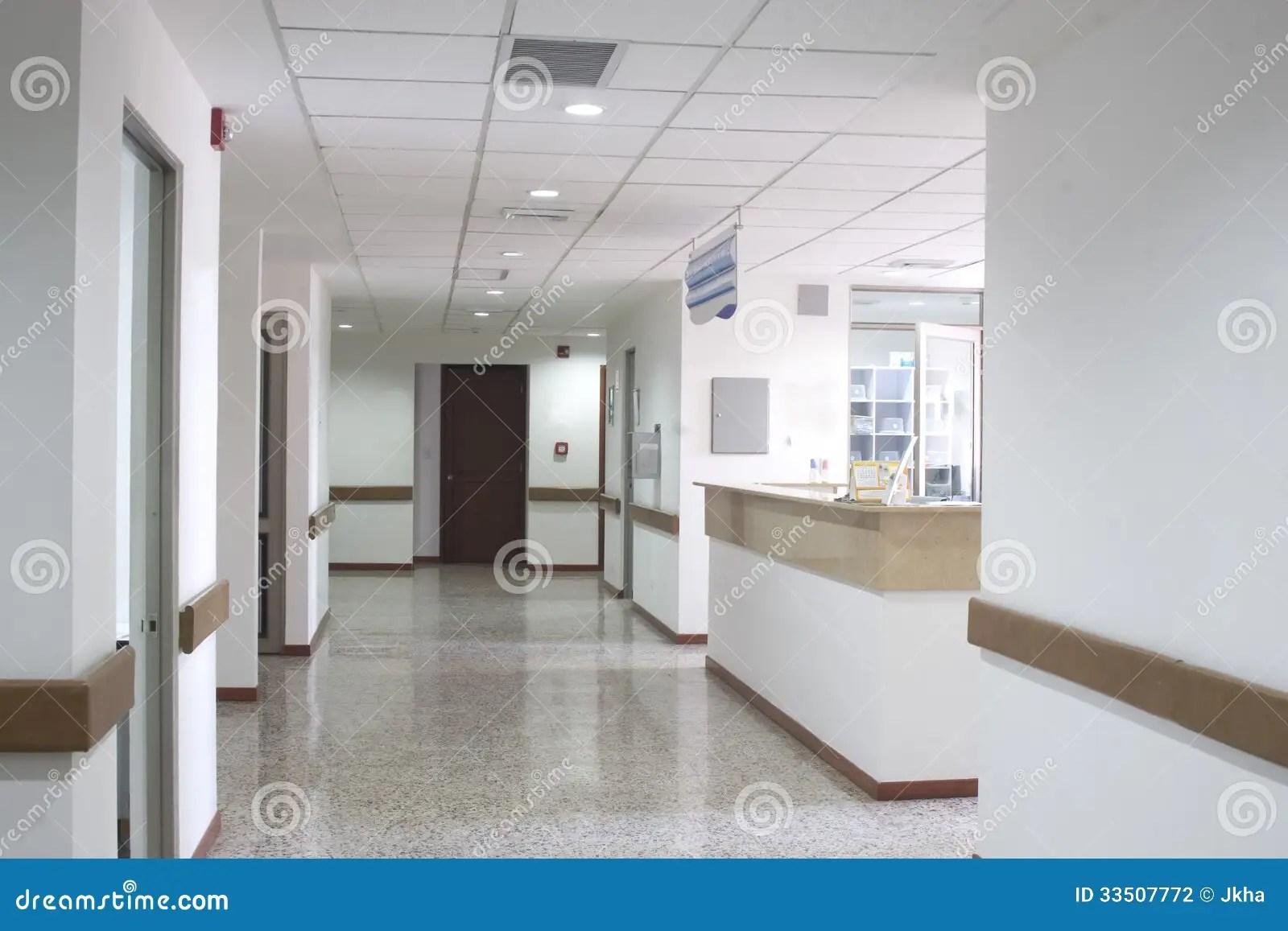 Corridor Interior Inside A Modern Hospital Stock