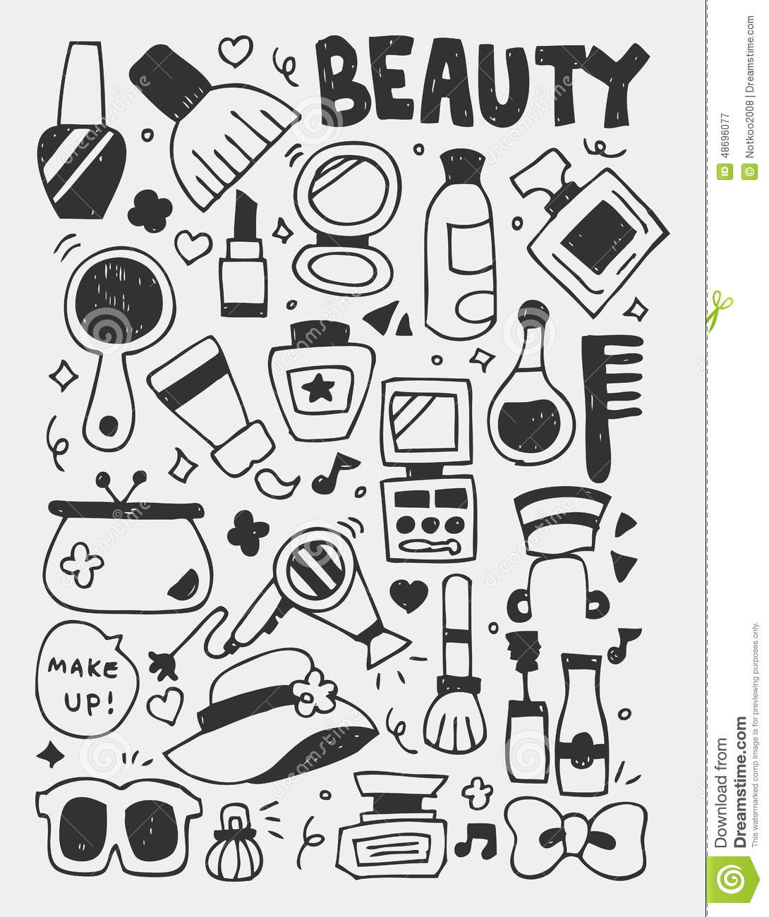Cosmetics Beauty Elements Doodles Hand Drawn Line Icon