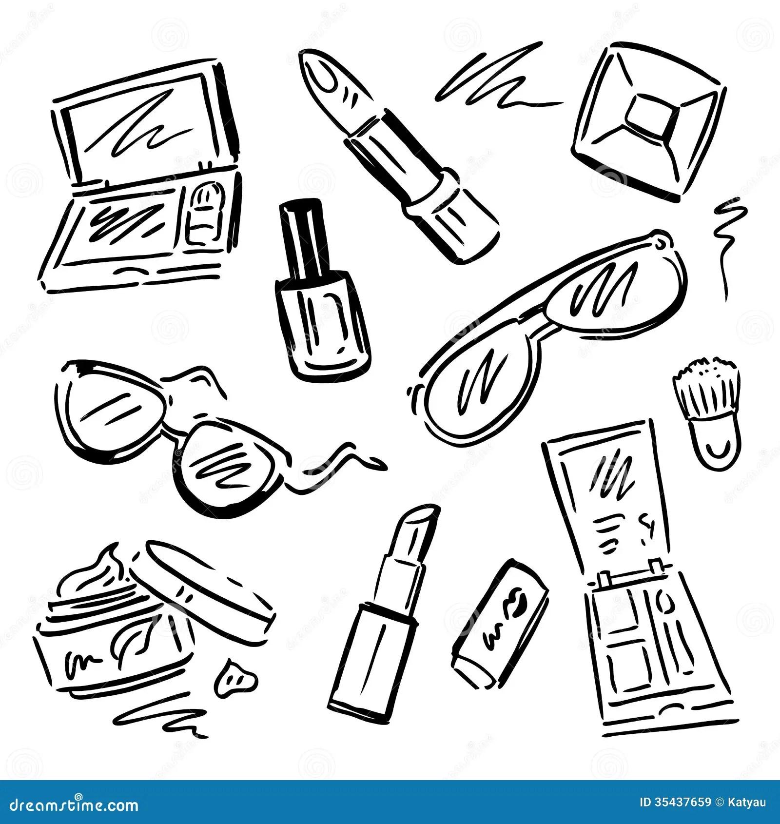 Cosmetics Makeup Set Stock Illustration Illustration Of