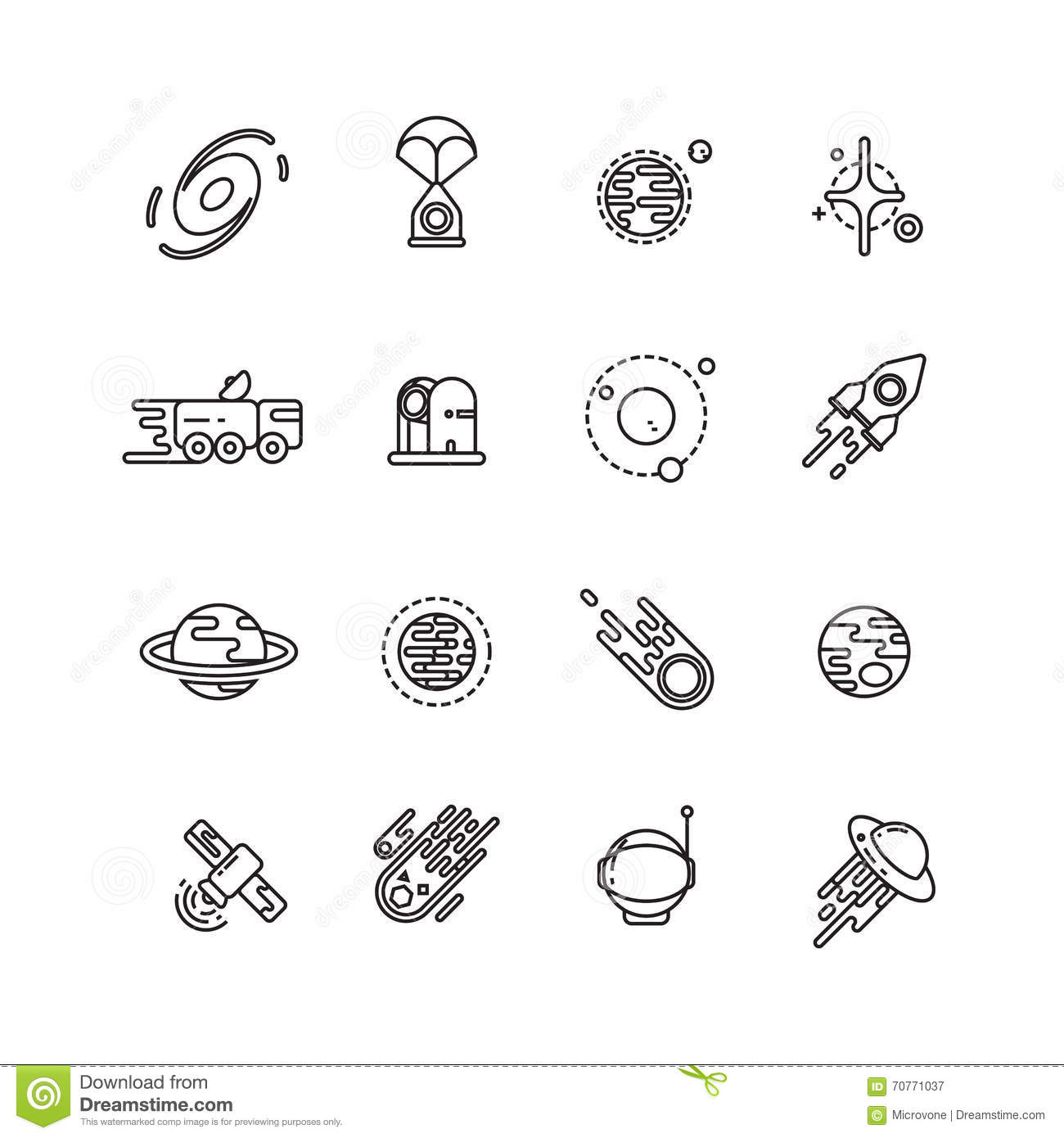Cosmos Astronomy And Astrology Space Line Vector Icons