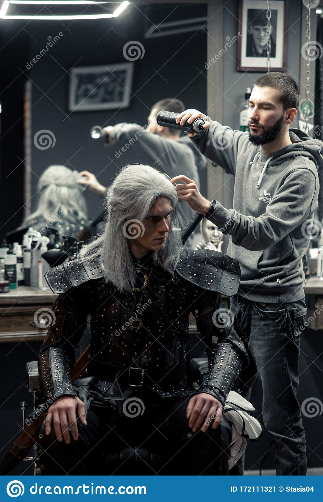 Geralt Of Rivia Hair : geralt, rivia, Cosplayer, Image, Character, Geralt, Rivia, Series, Witcher, Makes, Styling, Barbershop, Editorial, Photo, Caucasian,, Film:, 172111321