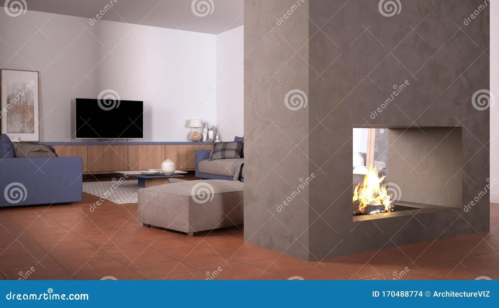 https www dreamstime com cosy purple beige living room sofa carpet table pouf concrete modern fireplace walls tv cabinet terracotta tile floors image170488774