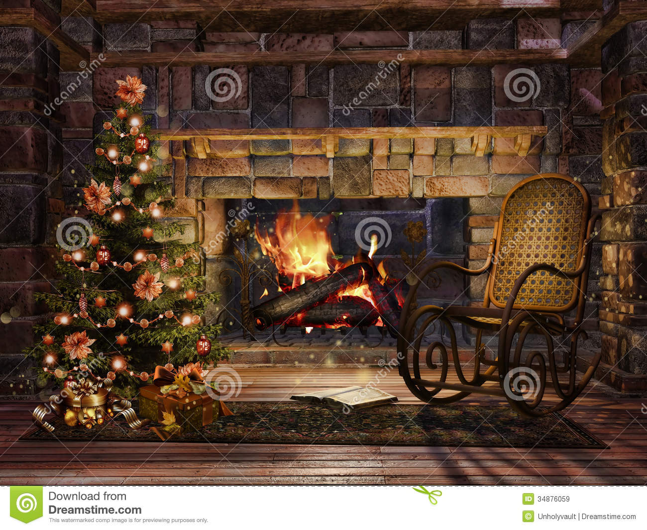 Cottage Room With A Christmas Tree Royalty Free Stock Images  Image 34876059