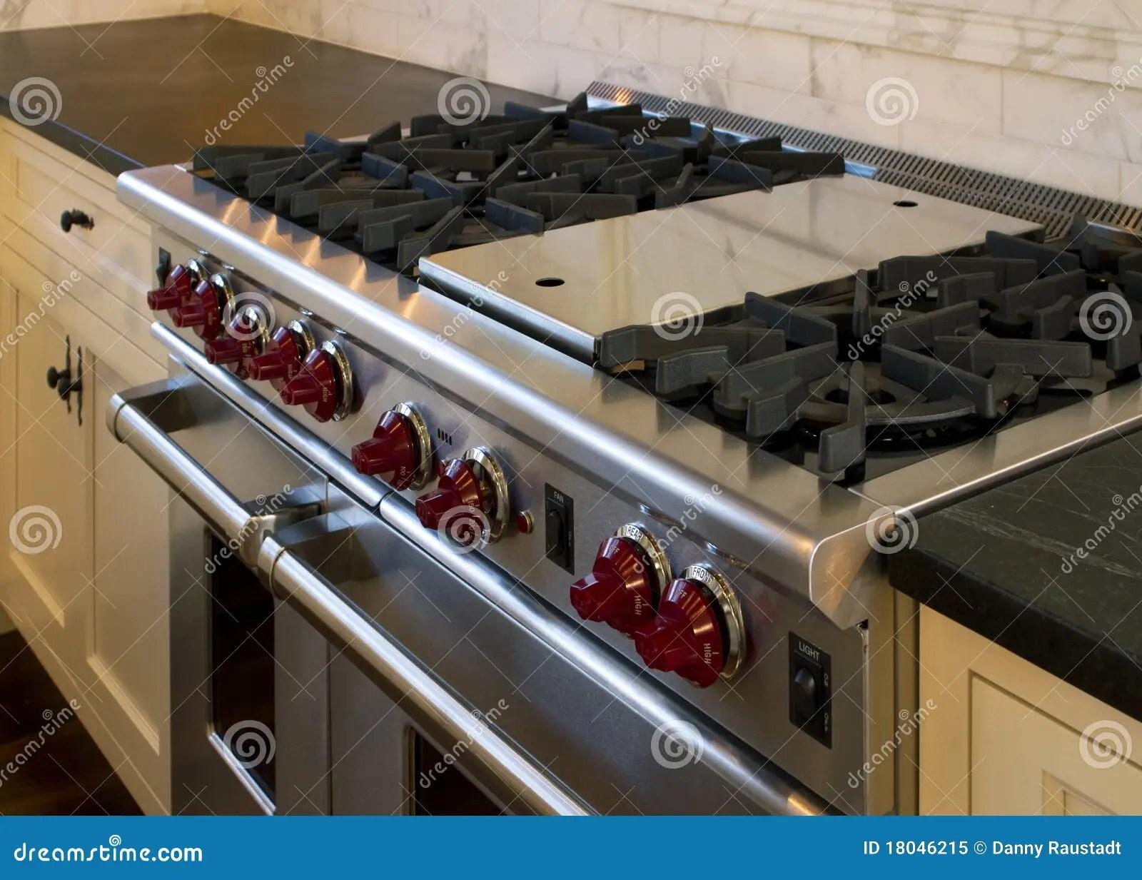 Cottage Style Kitchen Gas Cooking Range Stock Image