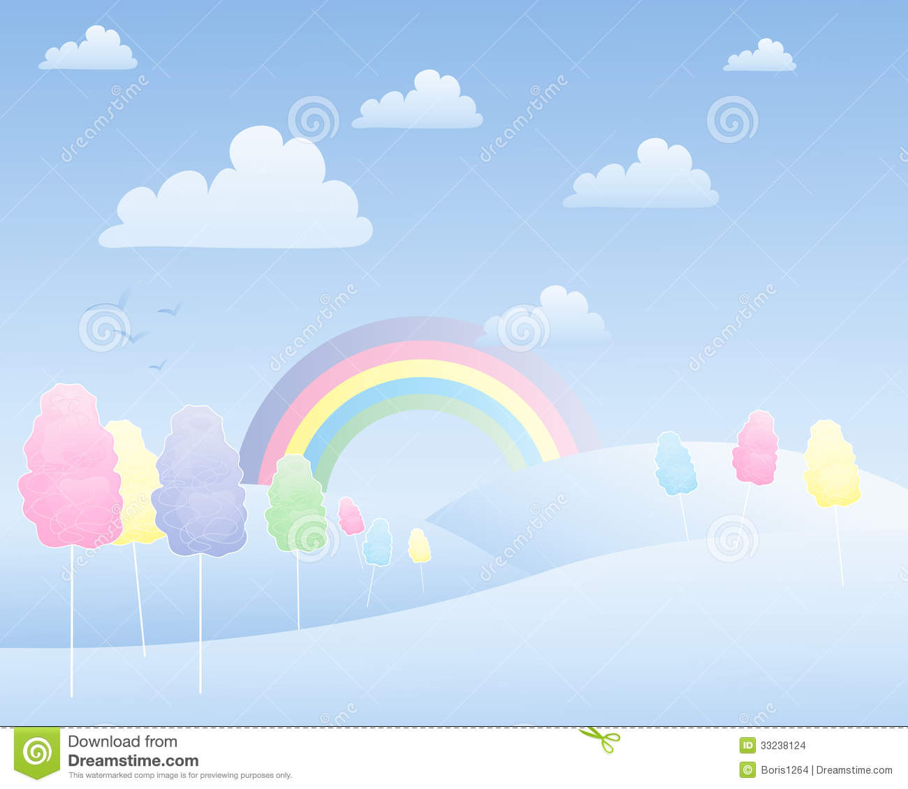 Cotton Candy Landscape Stock Vector Image Of Eating