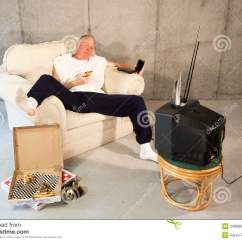 Best Tv Watching Chair Office Chairs Home Depot Couch Potato Eating And Stock Image