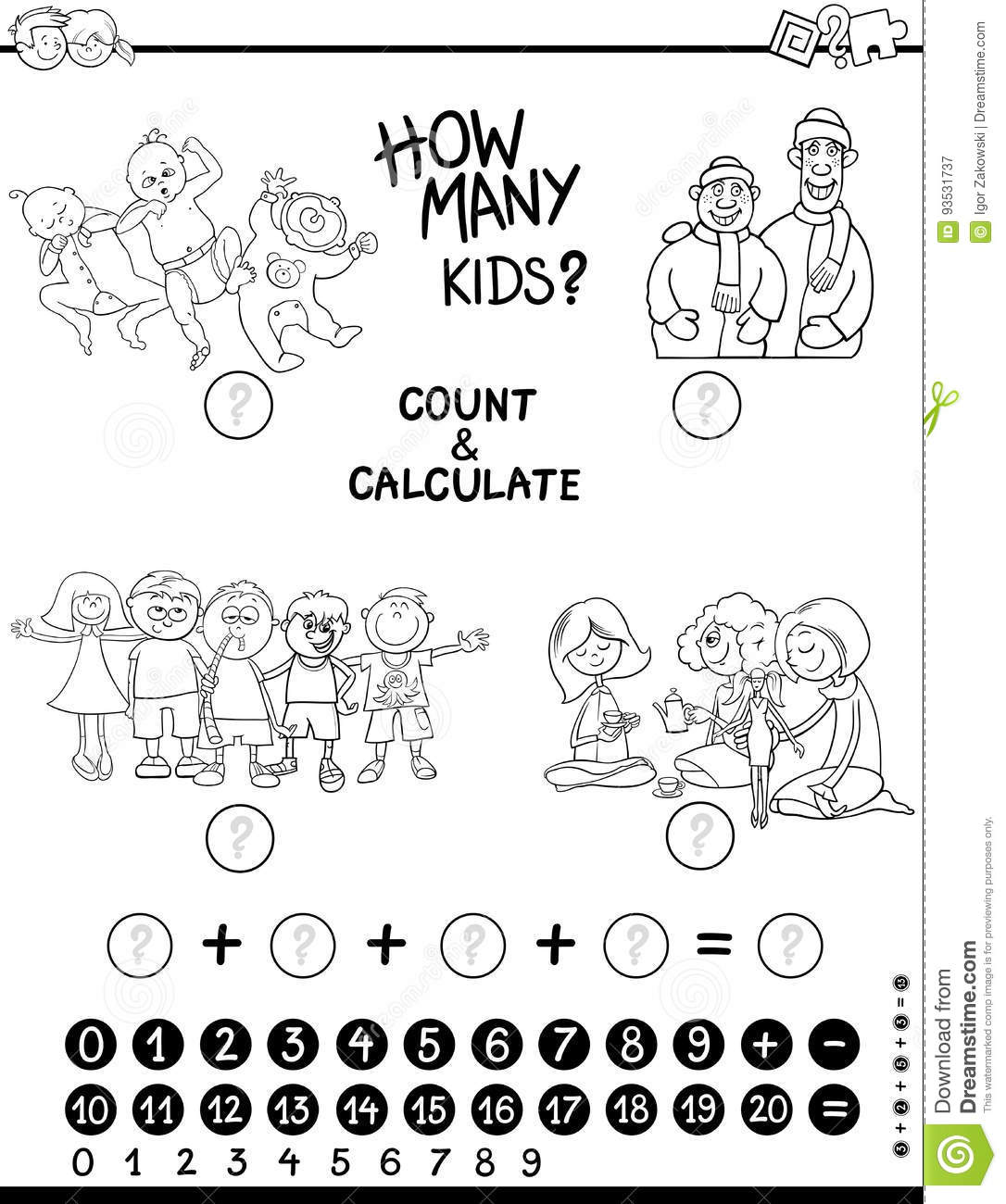 Count And Calculate Game Coloring Page Stock Vector