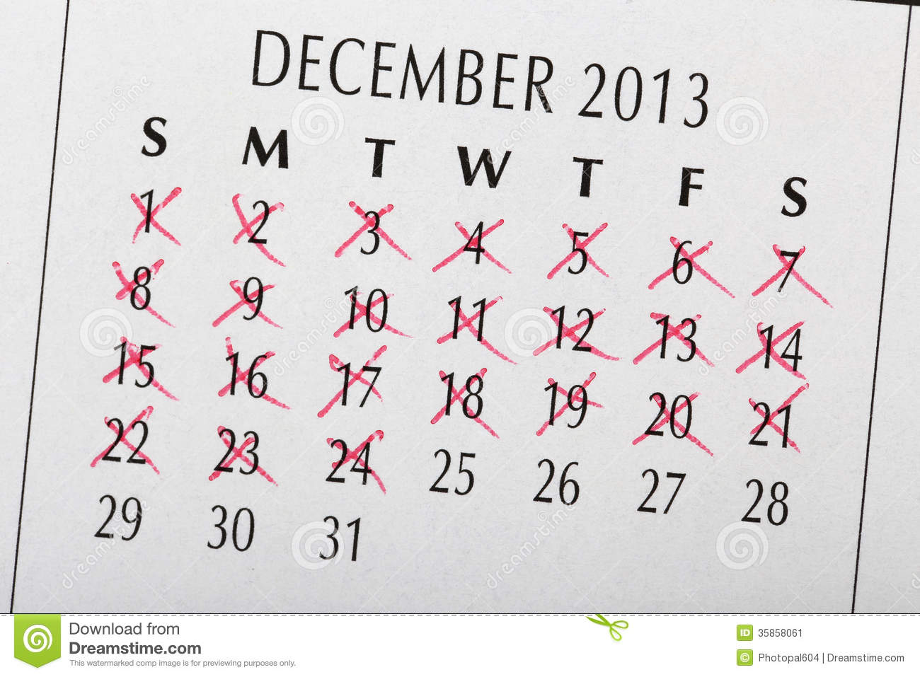 Count Down To Christmas Date Stock Image Image 35858061
