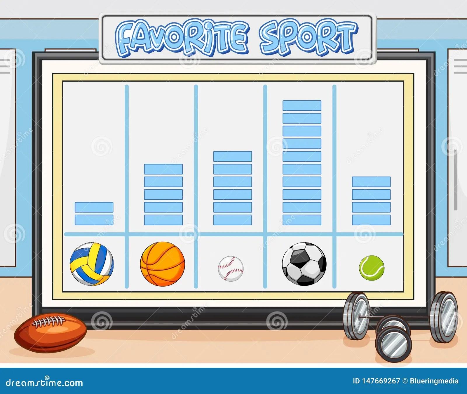 Count Favorite Sport Worksheet Stock Vector