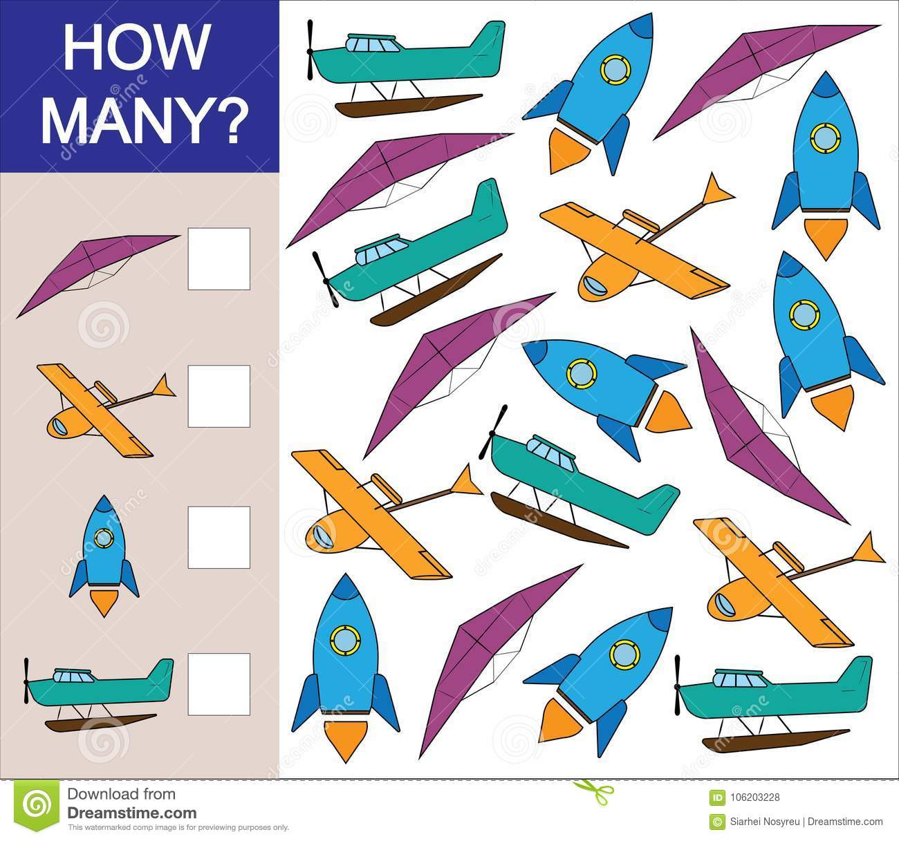 Count How Many Object Of Air Transport Mathematical Game