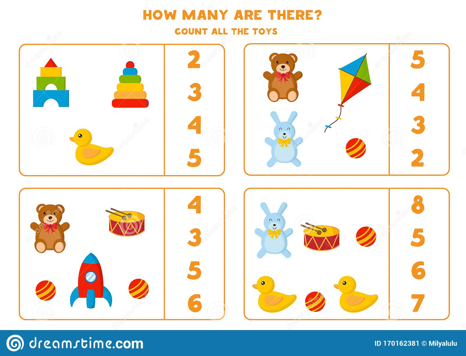 Count How Many Toys Are There Math Game For Kids Stock