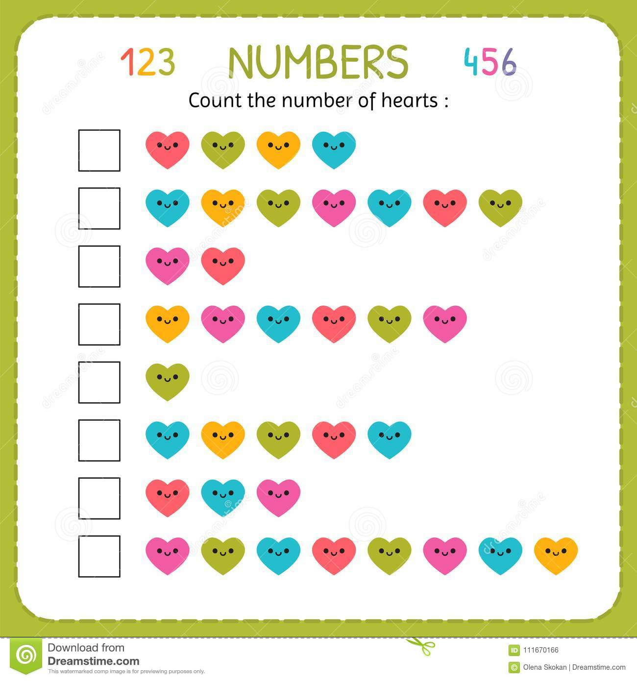 Count The Number Of Hearts Worksheet For Kindergarten And