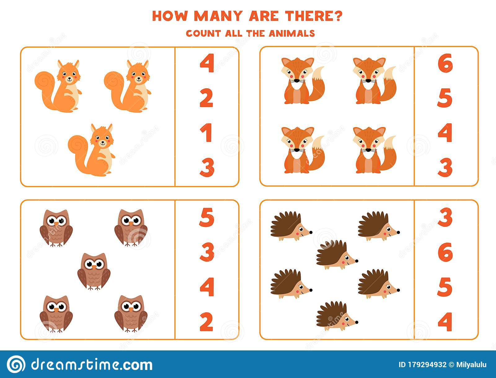 Count The Number Of Woodland Animals Math Game For Kids