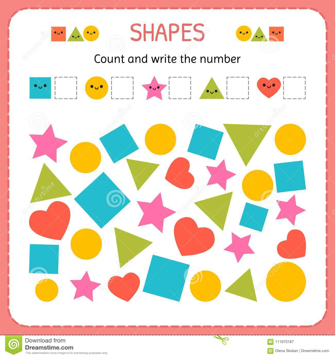 Count And Write The Number Learn Shapes And Geometric