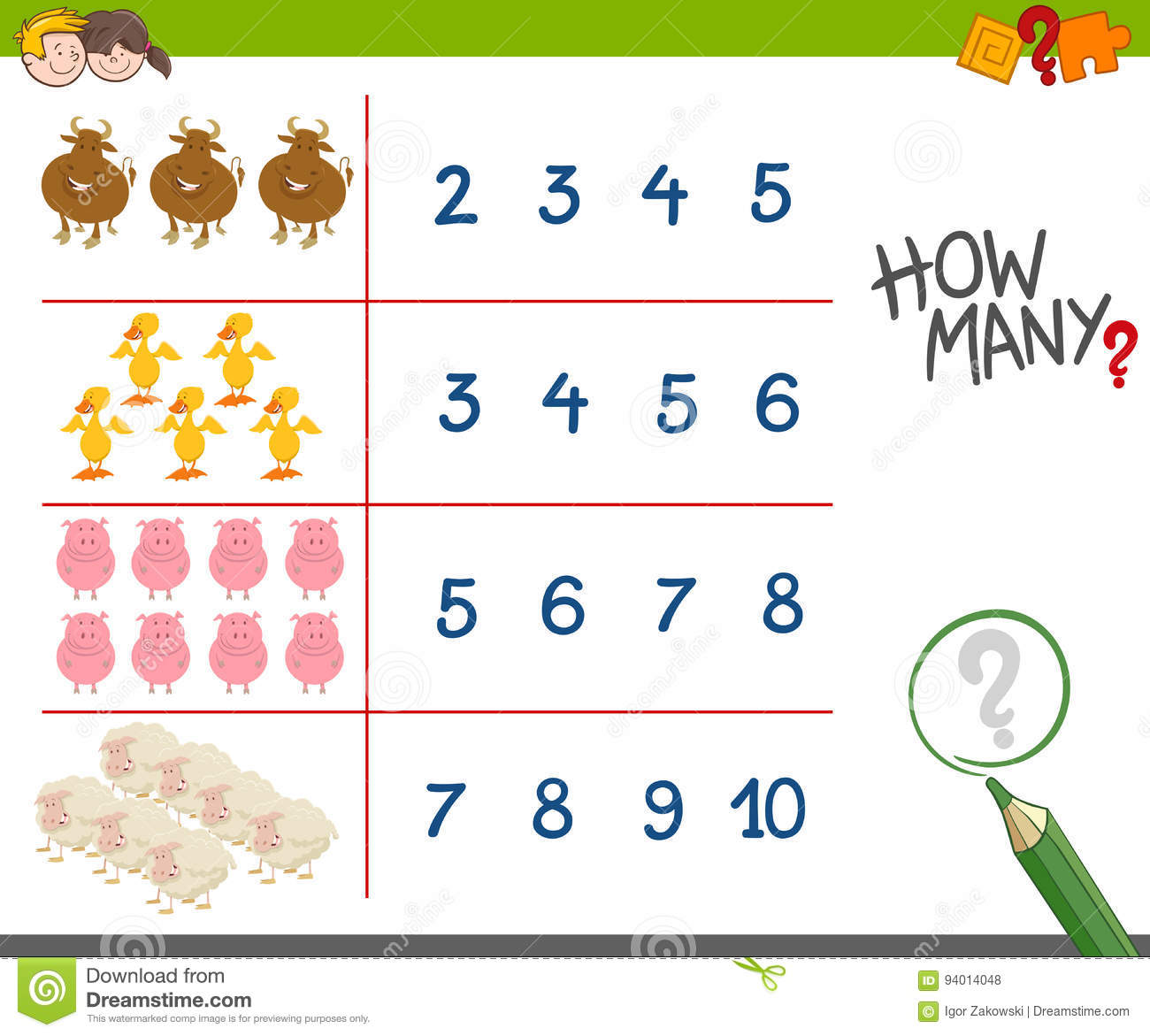 Counting Activity With Farm Animals Stock Vector