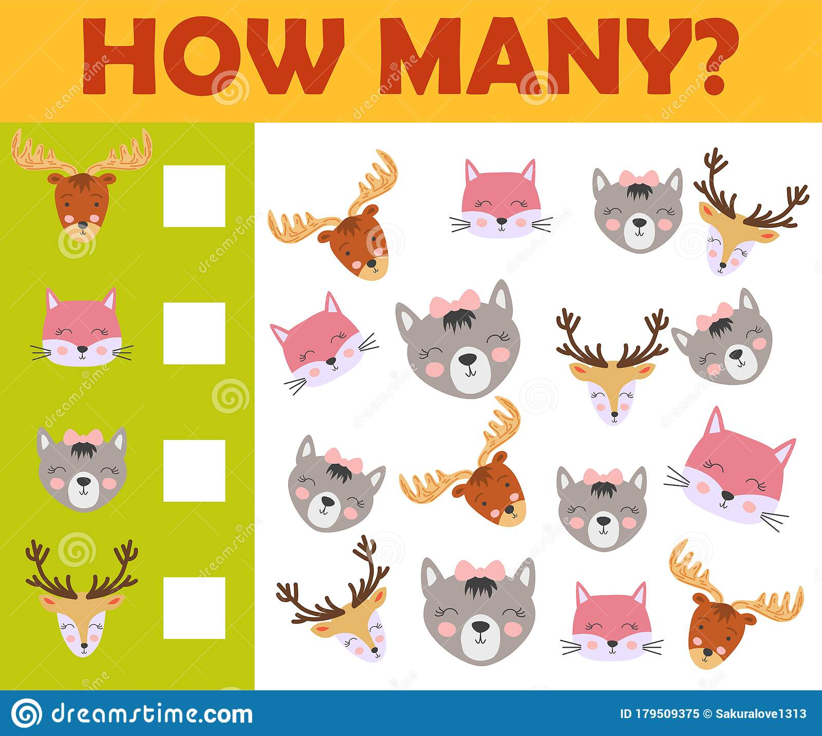 Counting Animal Games For Preschool Kids Sheet Layout In