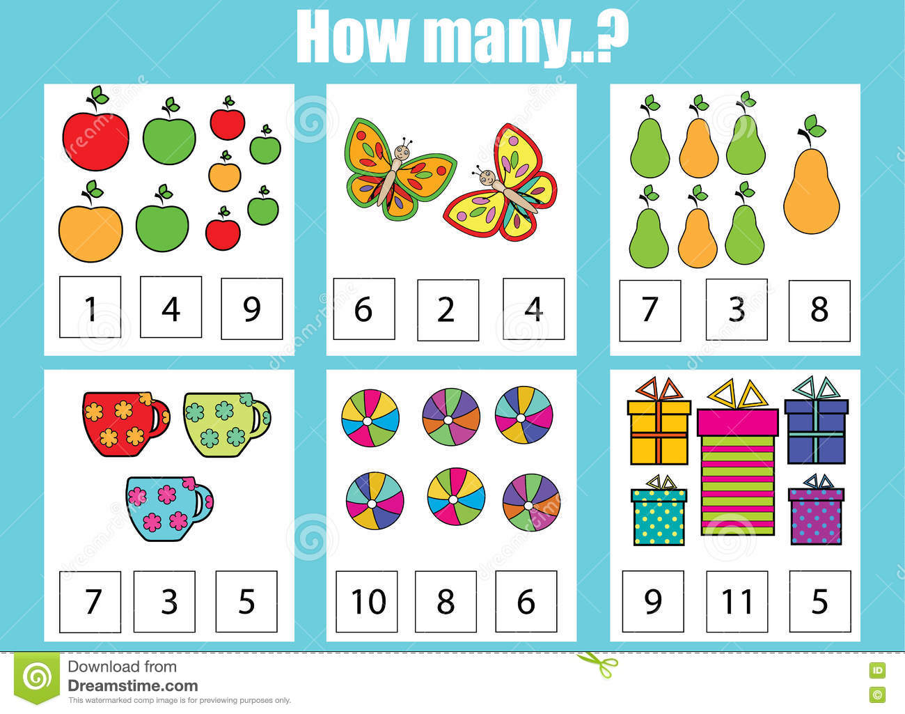 Counting Educational Game For Children Addition Worksheets Vector Illustration