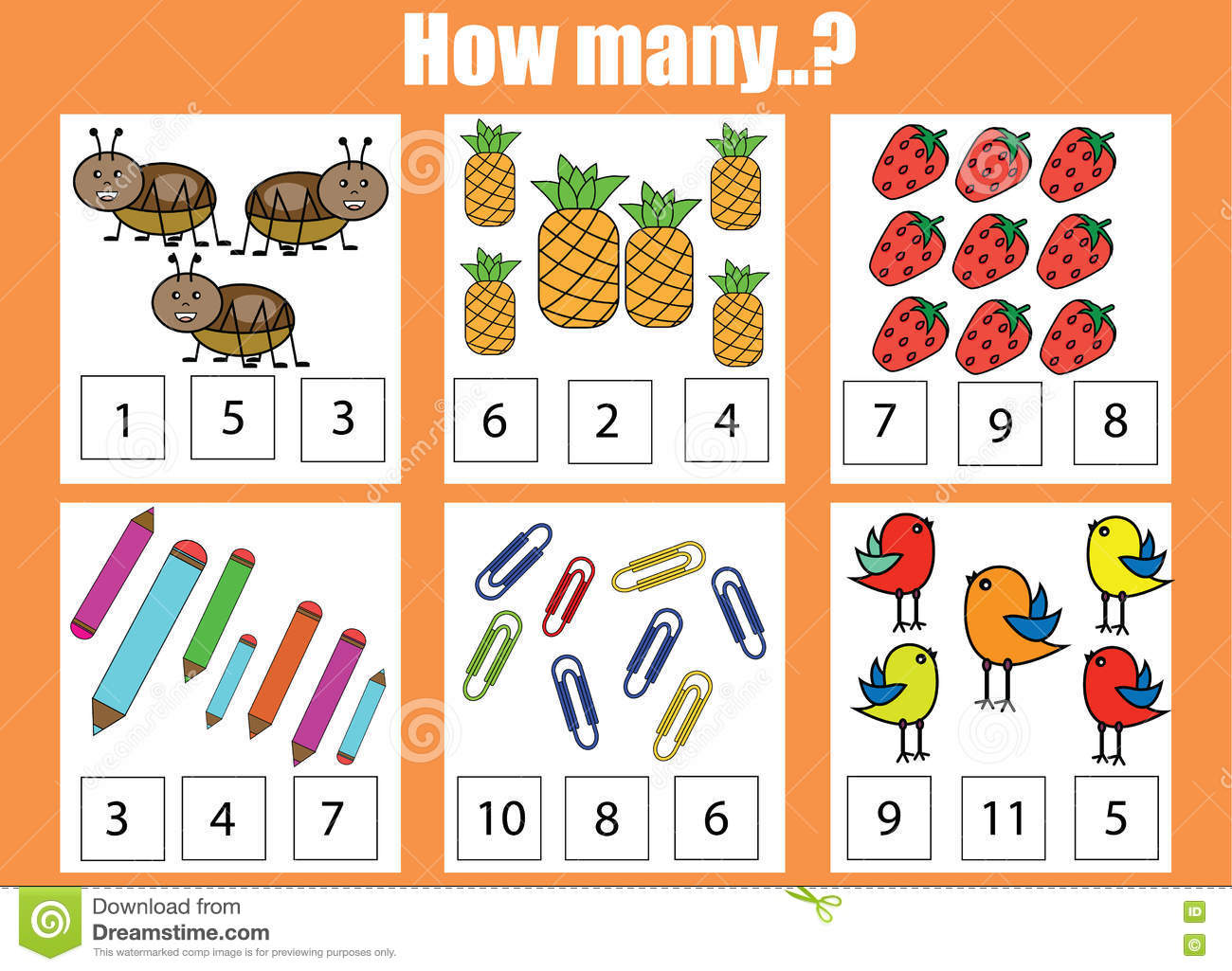 Counting Educational Children Game Kids Activity How