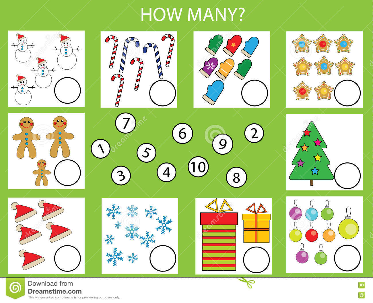 Numbers Game Christmas Tree Vector Illustration