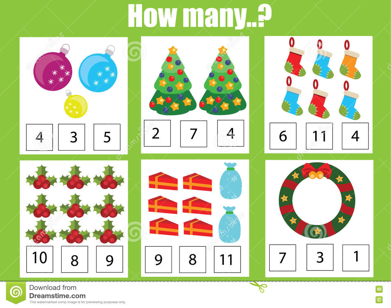 Christmas Themed Math Kindergarten Addition Worksheet