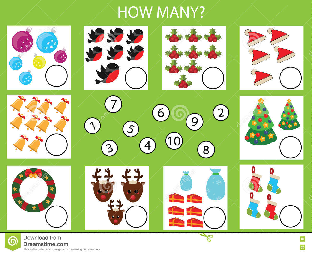Counting Educational Children Game Kids Activity Worksheet How Many Objects Task Christmas