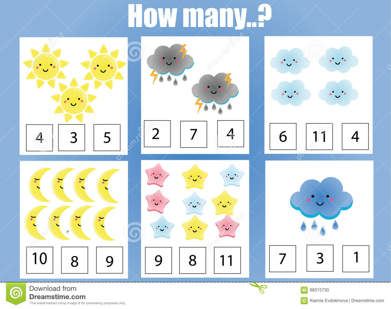 Counting Educational Children Game Kids Activity Worksheet How Many Objects Task Stock Vector