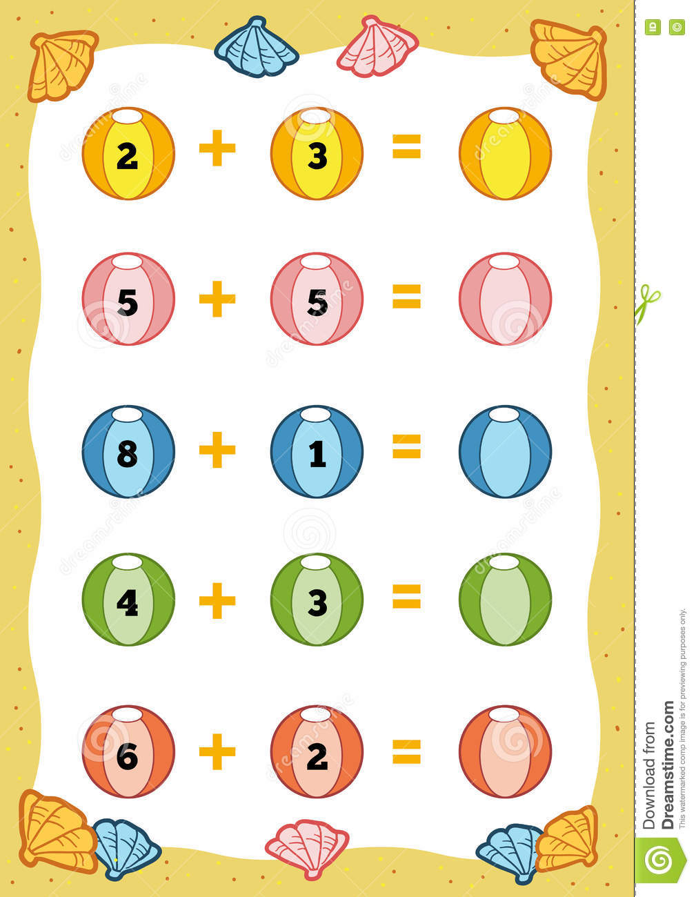 hight resolution of Counting Educational Game For Children. Addition Worksheets Stock Vector -  Illustration of group