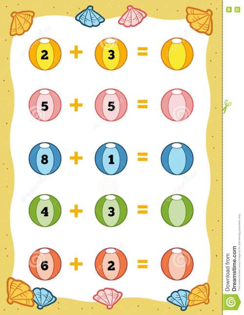 small resolution of Counting Educational Game For Children. Addition Worksheets Stock Vector -  Illustration of group