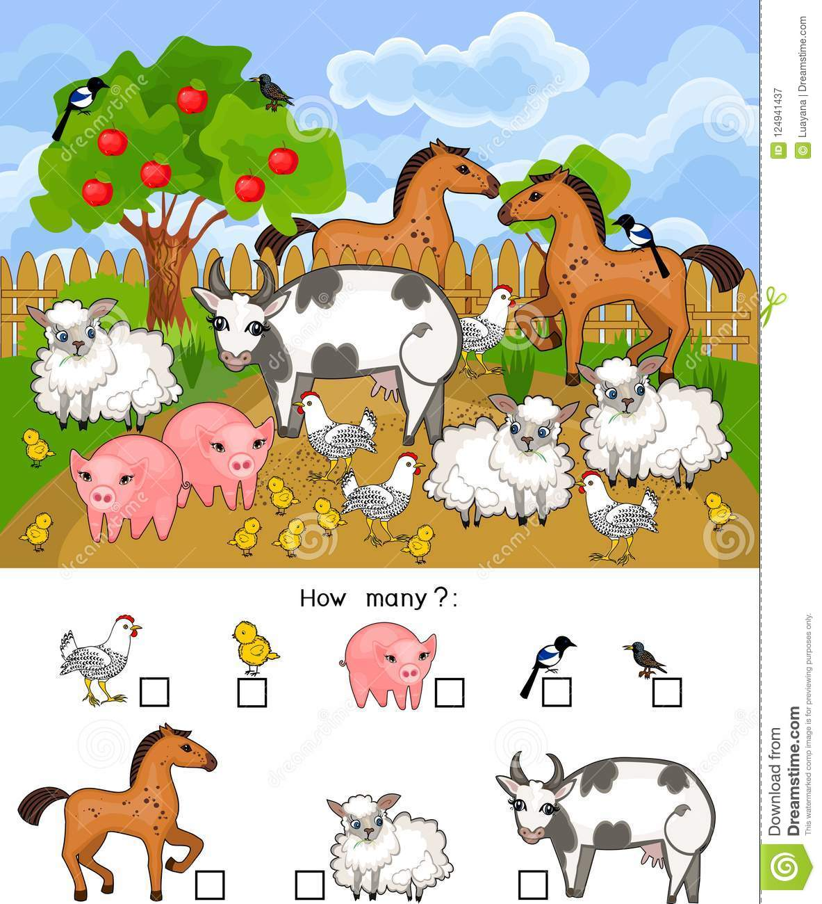 How Many Animals Counting Educational Game With Different Farm Animals For Preschool Kids Stock