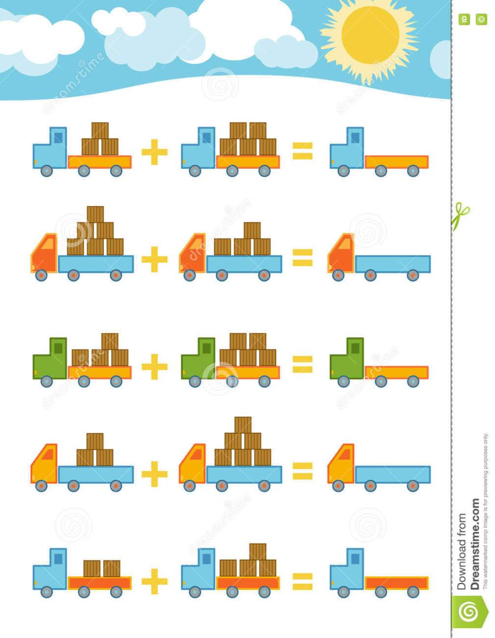 medium resolution of Counting Game For Children. Addition Worksheets Stock Vector - Illustration  of graphic