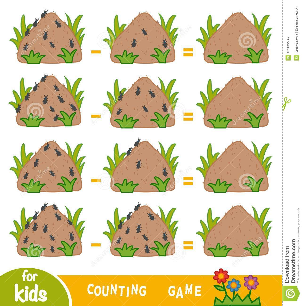 Counting Game For Children Count The Number Of Ants On