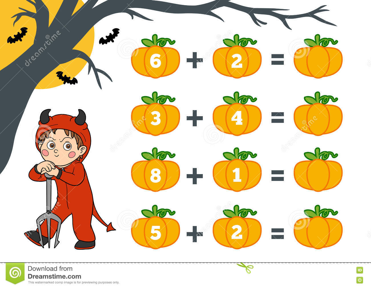 Counting Game For Children Halloween Characters Devil