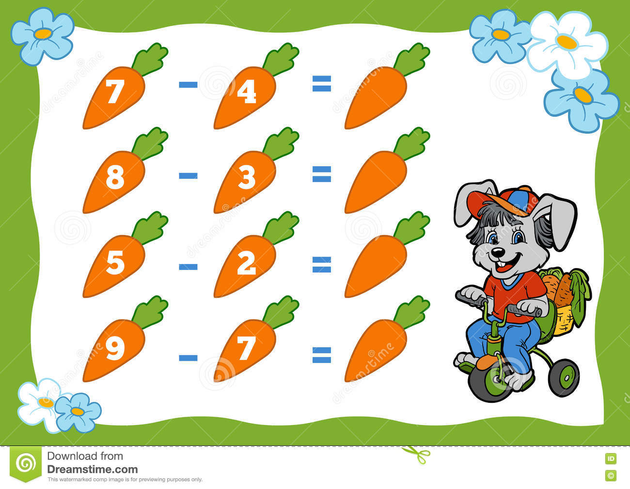 Counting Game For Children Subtraction Worksheets Rabbit