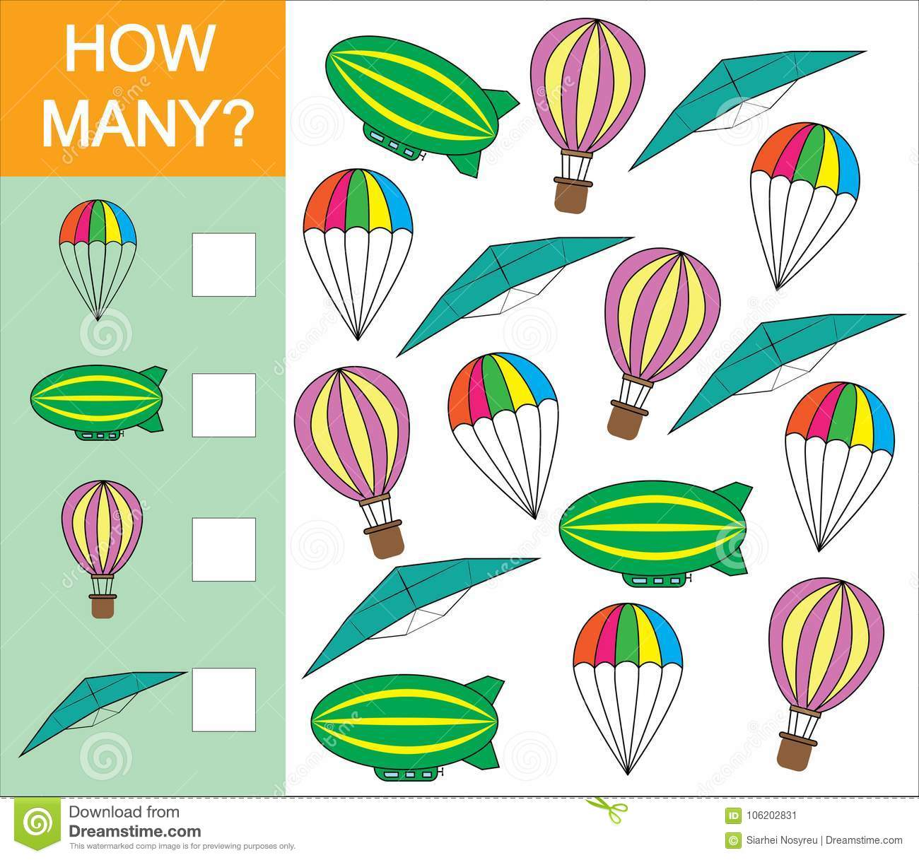 Counting Game How Many Object Of Air Transport For
