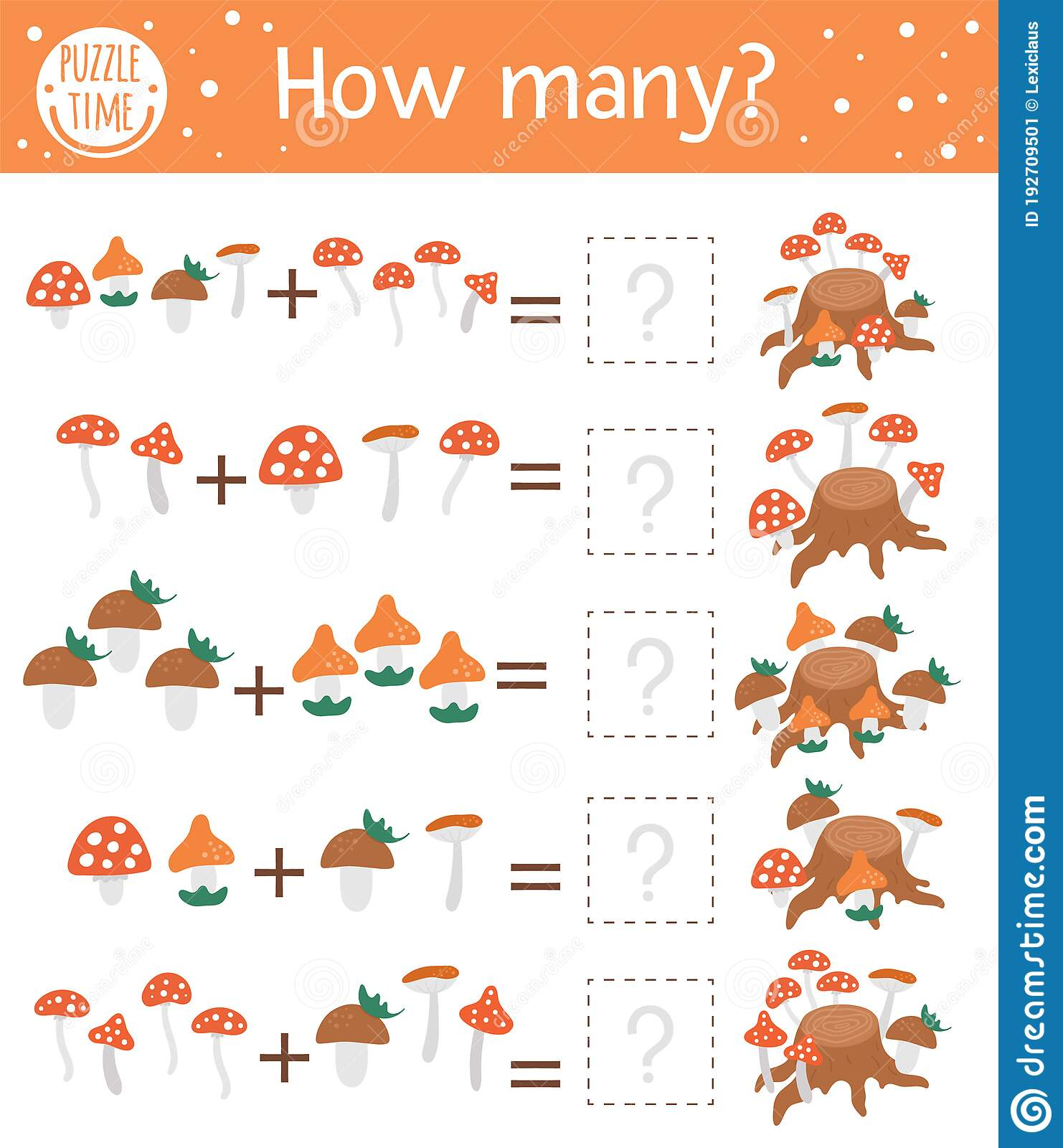 Counting Game With Mushrooms And Tree Stump Autumn