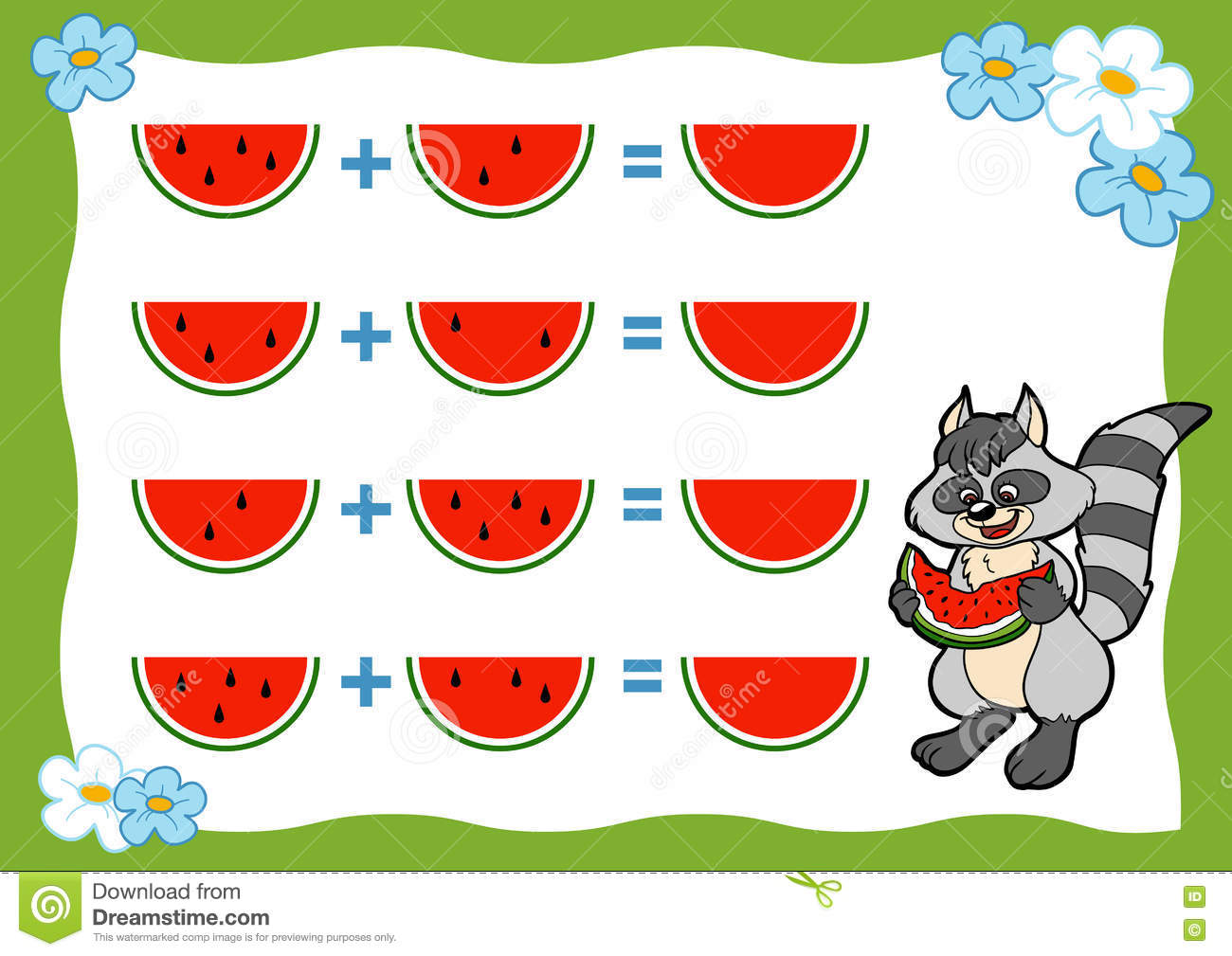 Counting Game For Preschool Children Addition Worksheets