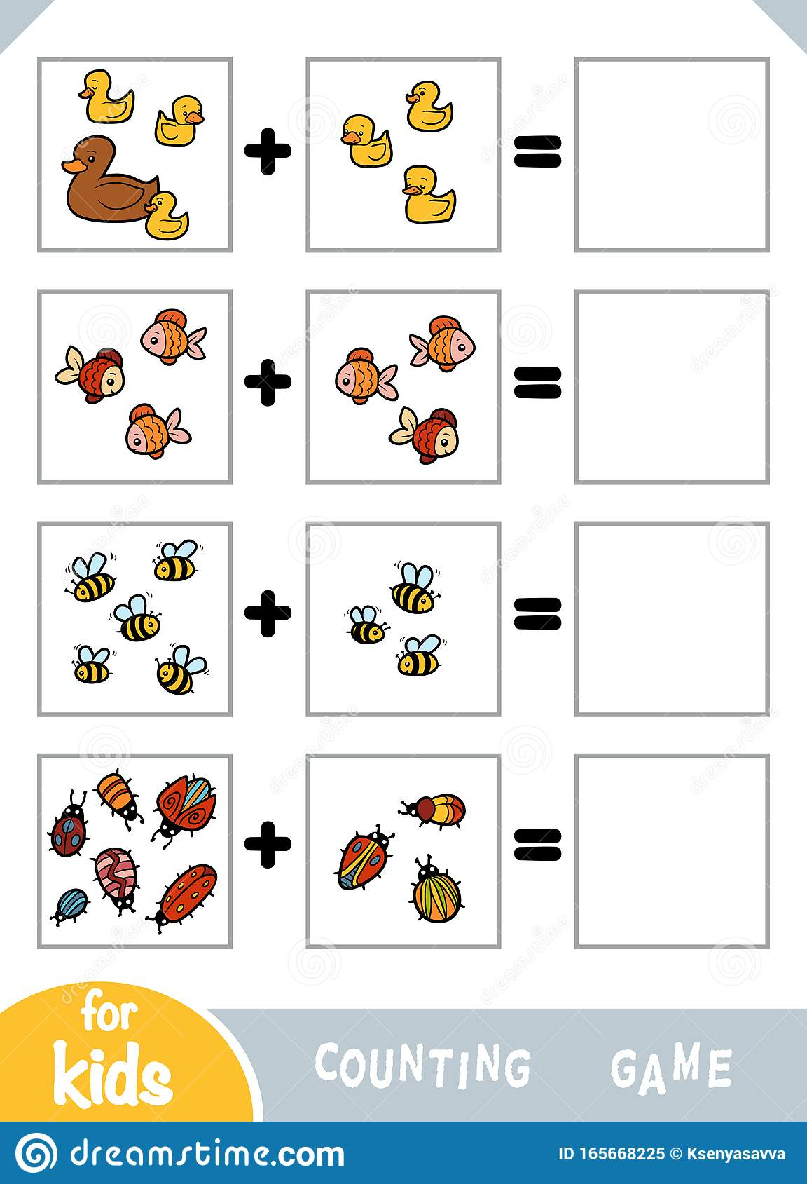 Counting Game For Preschool Children Count The Animals In