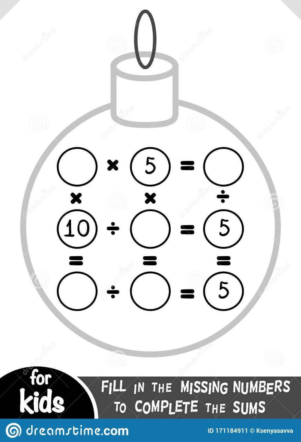 medium resolution of Counting Game For Preschool Children. Educational A Mathematical Game.  Multiplication And Division Worksheet With Christmas Ball Stock Vector -  Illustration of kindergarten