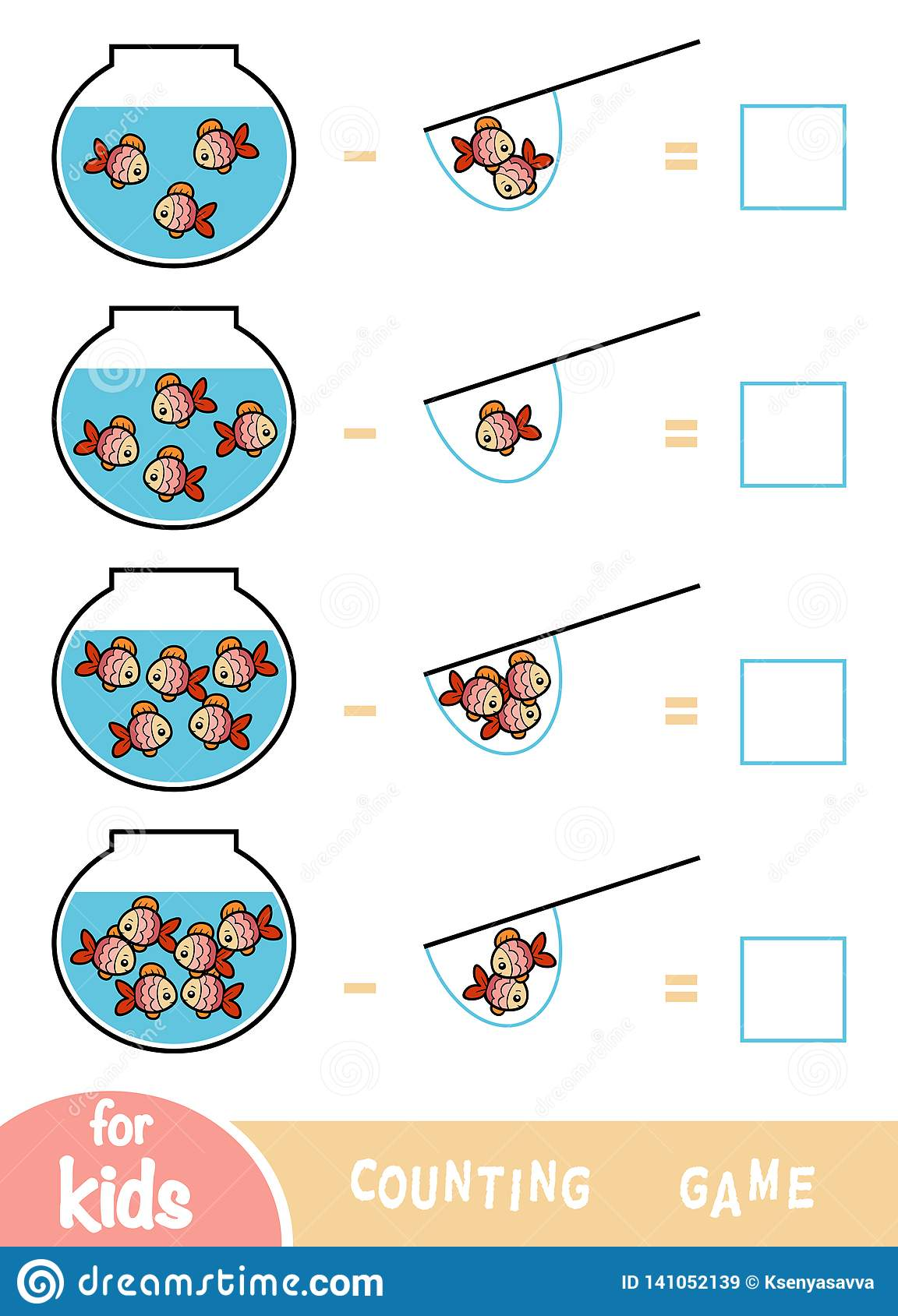 Counting Game For Preschool Children Subtraction