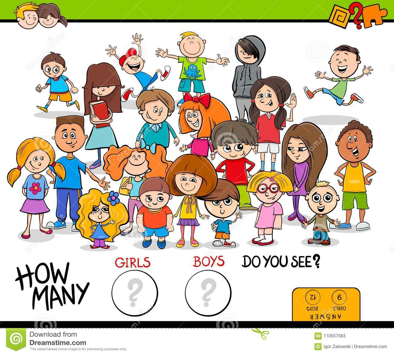 Counting Girls And Boys Educational Activity Stock Vector